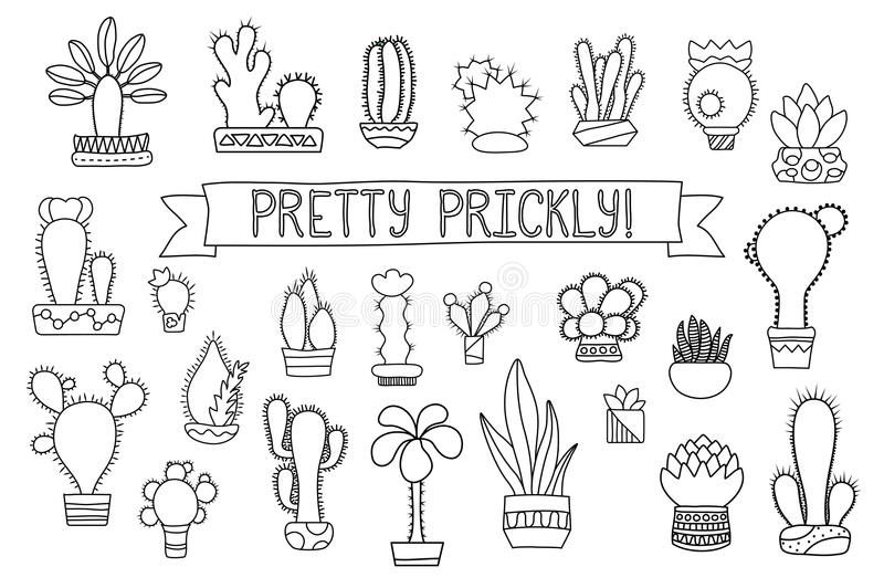 Thin Line Cactus And Succulent Clipart Potted Cactus And