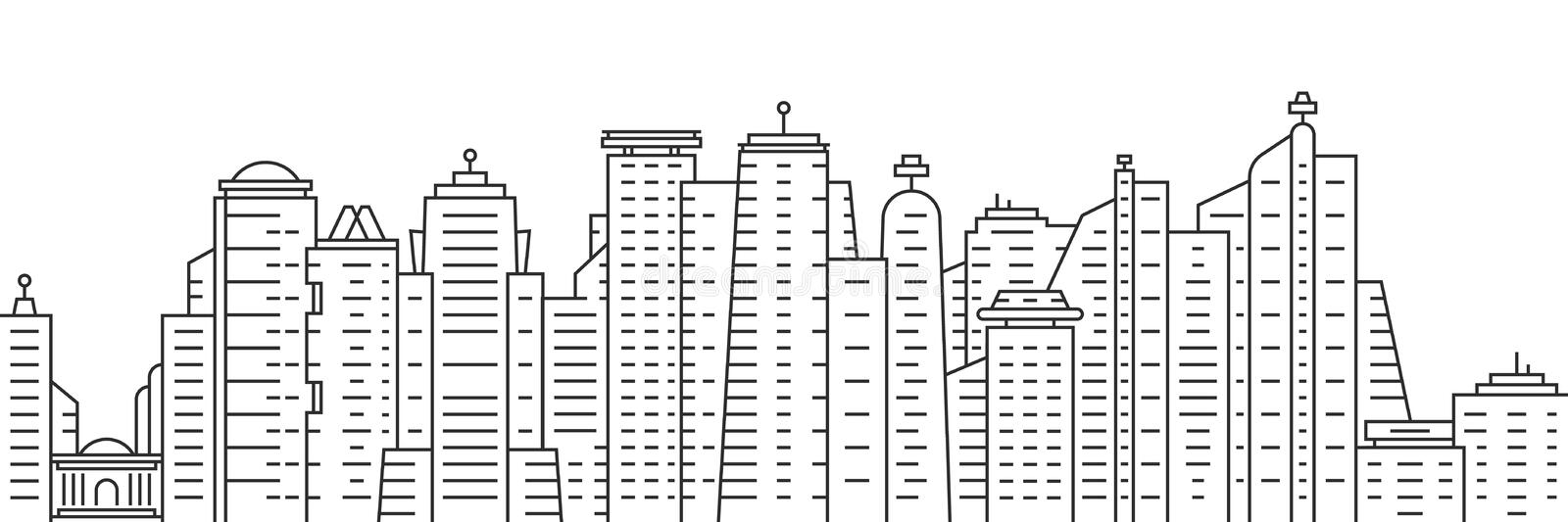Thin line city panoramic view on white background stock illustration