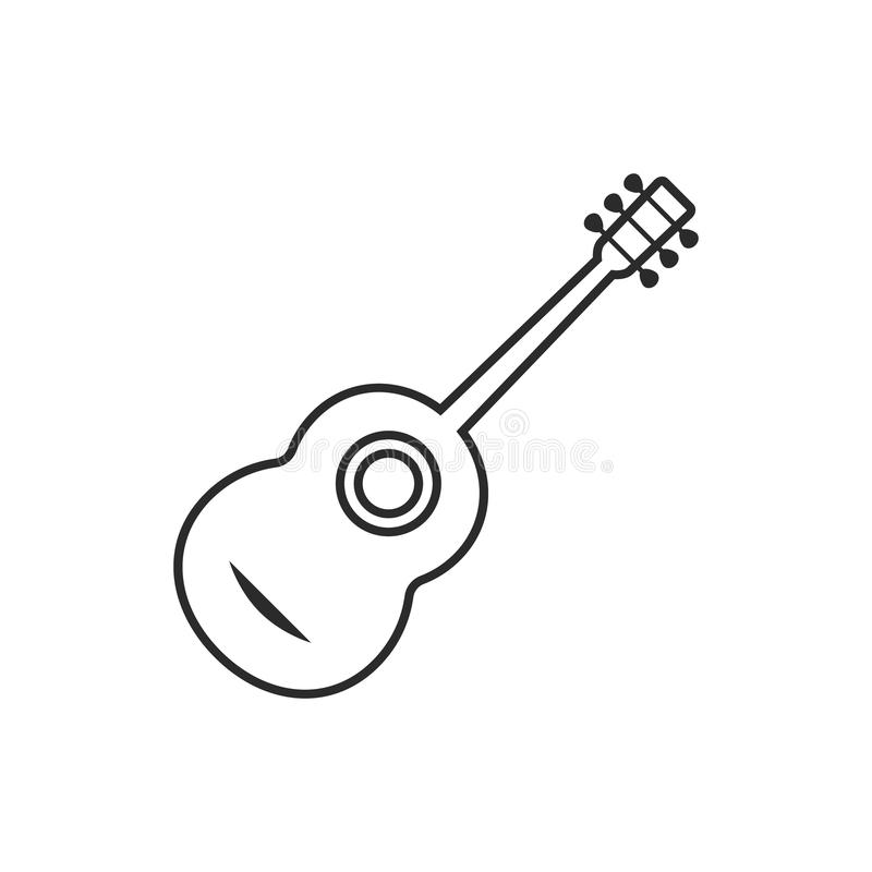 Thin line classical guitar royalty free illustration