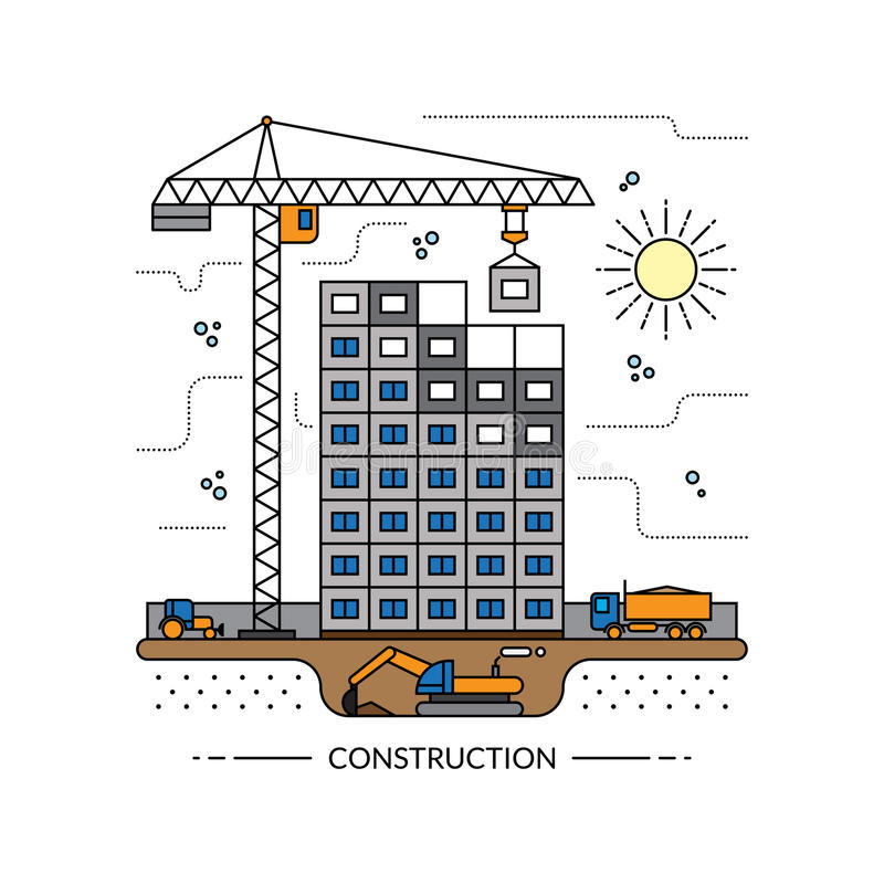 Thin line construction site concept illustration. Thin line construction site, process of building a house concept illustration in flat style. Construction royalty free illustration