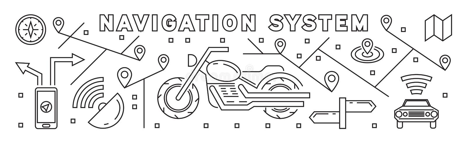 Navigation, Mapping, and Positioning System. Thin Line Design Concept. Thin Line Design Concept. Navigation, Mapping, and Positioning System vector illustration