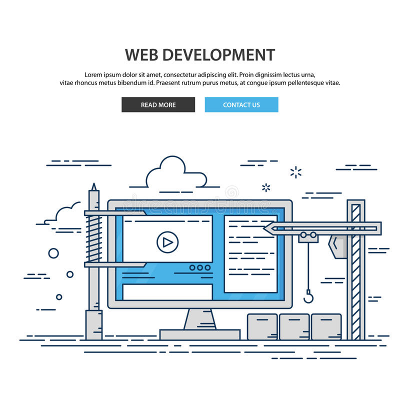 Thin line design website under construction. web page building process vector illustration