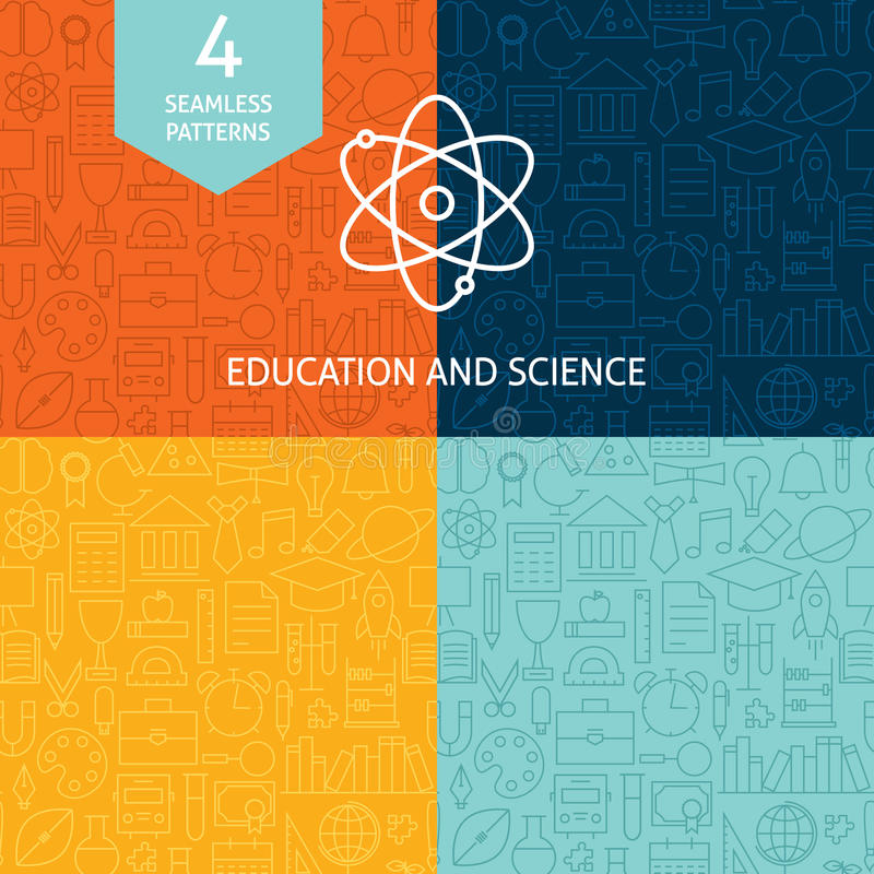Thin Line Education Science School Patterns Set vector illustration