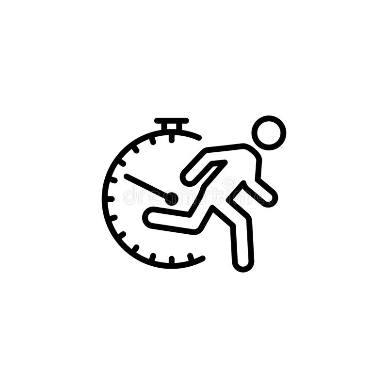 Thin line fast running man icon on white vector illustration