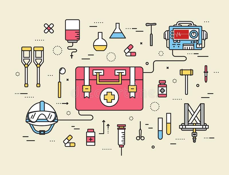 Thin line first medical aid modern illustration concept. Infographic way from medicine chest to equpment. Icons on isolated vector illustration