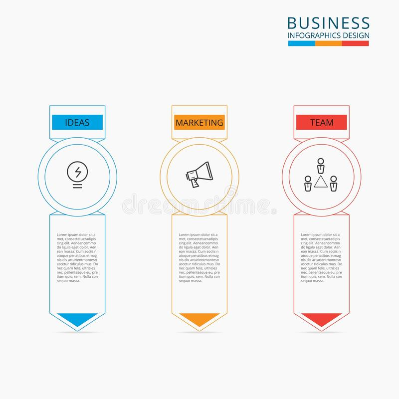 Thin line flat business concept infographic template. Can be used for workflow layout, diagram web design, infographics. royalty free illustration