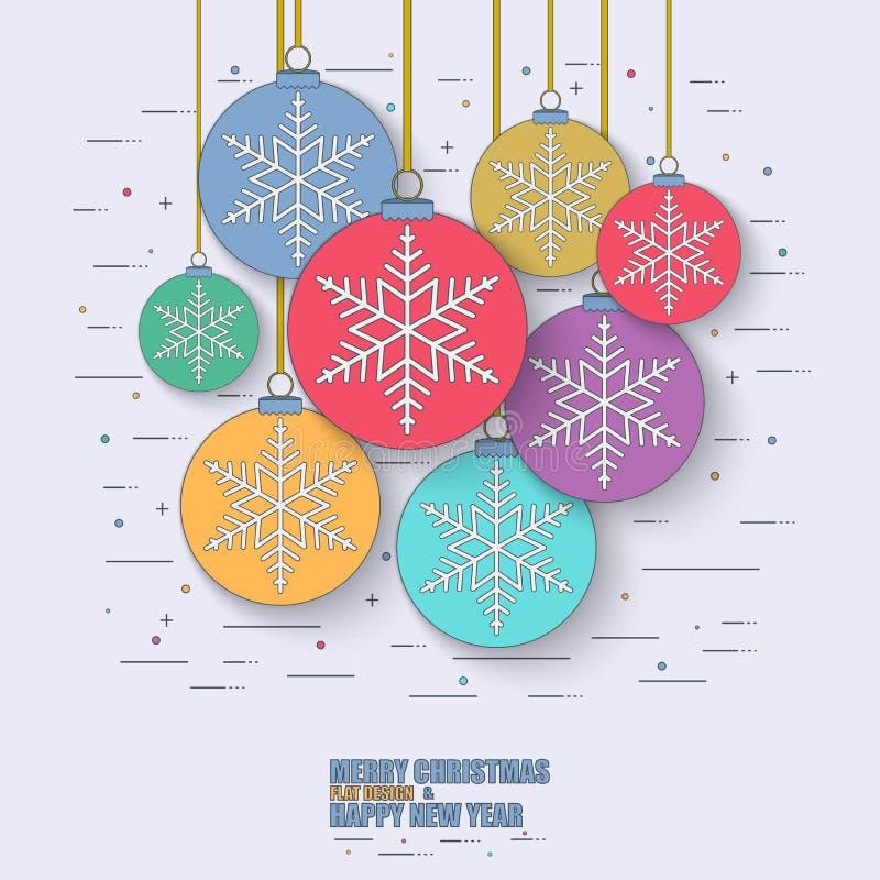 Thin line flat concept christmas balls royalty free illustration
