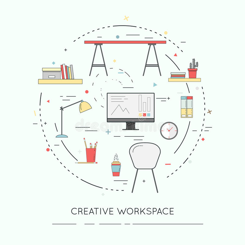 Thin line flat design banner of Creative Workspace for website and mobile. stock illustration