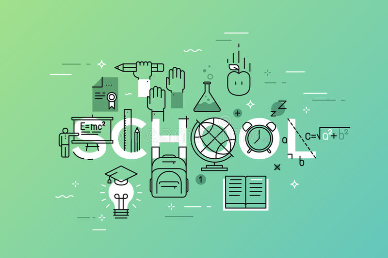 Thin line flat design banner of learning web page vector illustration