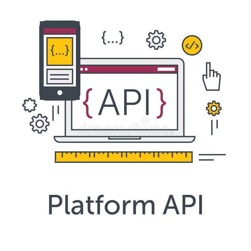 Thin line flat design concept banner for software development. Platform API icon. Programming language, testing and bug stock illustration