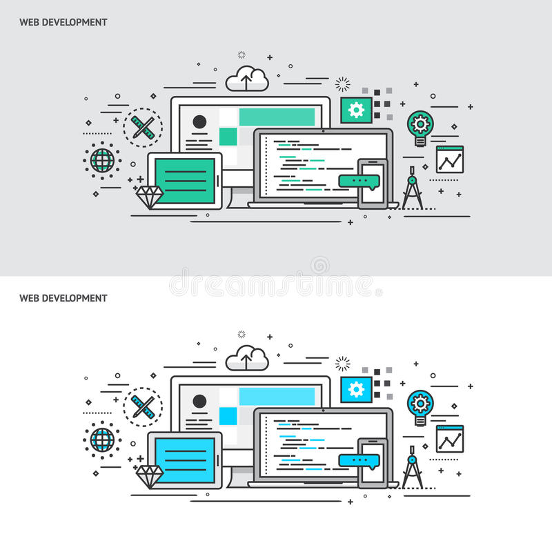 Thin line flat design concept banners for Web Development stock illustration