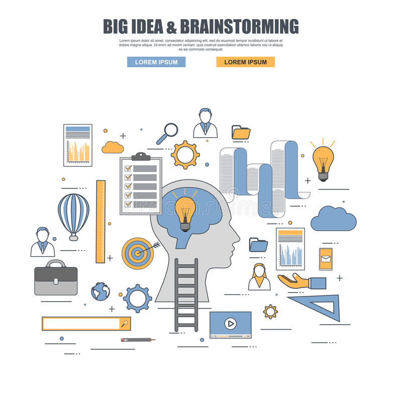Thin line flat design concept of big idea, brainstorming royalty free illustration