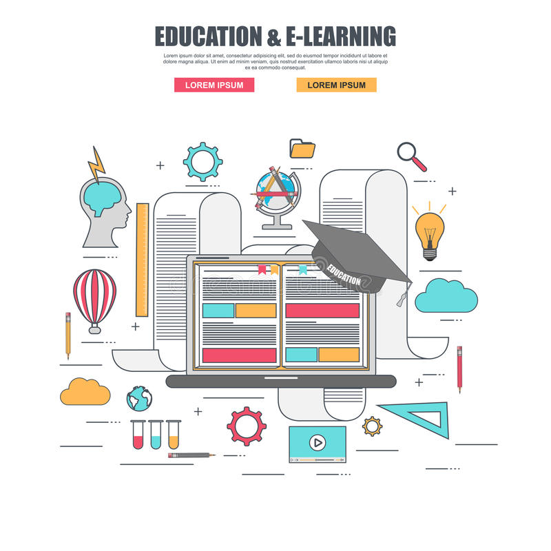 Thin line flat design concept of e-learning education stock illustration