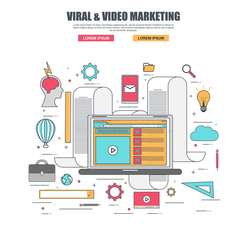 Thin line flat design concept of viral and video marketing stock illustration
