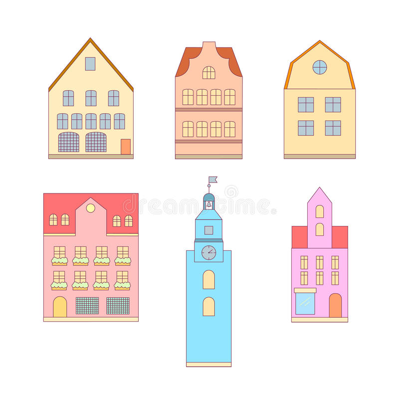 Thin line flat design of houses vector illustration