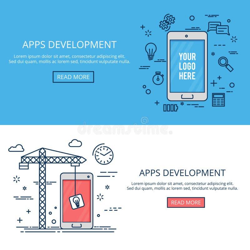 Thin line flat design mobile development. Vector banner set. royalty free illustration