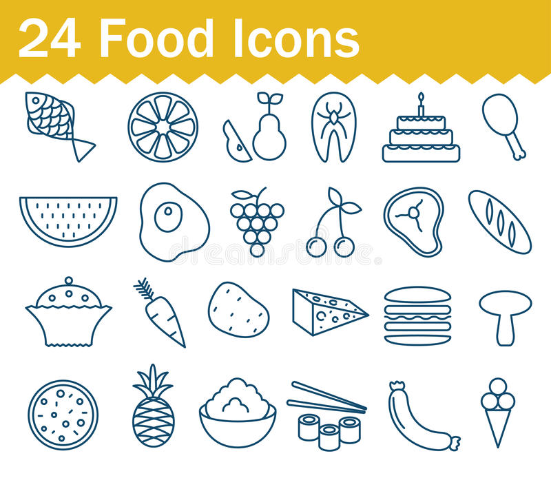 Thin line food icons set. Outline icon collection vector illustration
