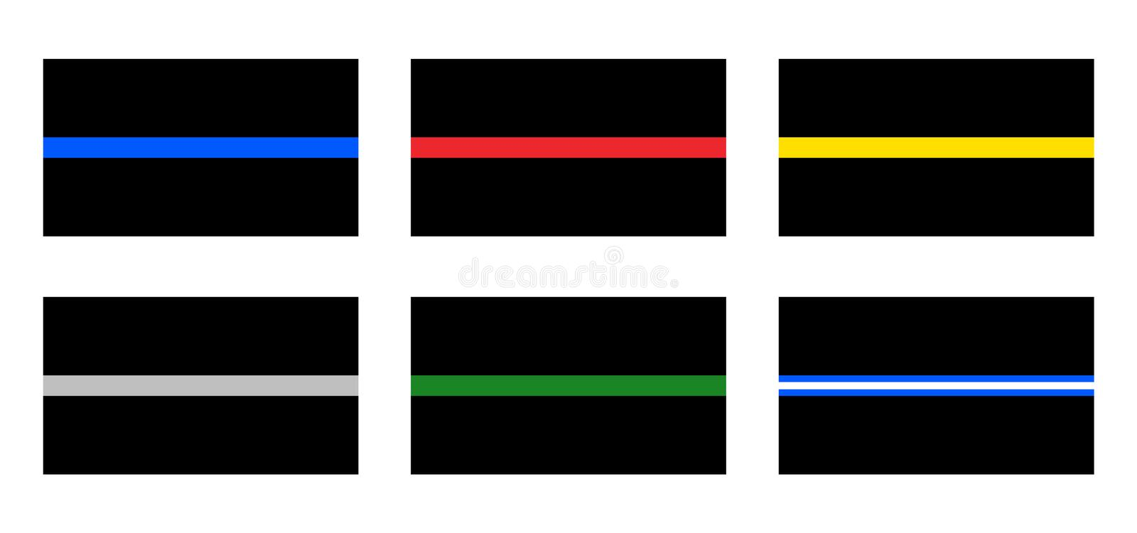 Thin line foundation flags. Blue red yellow gray green and white signs royalty free illustration
