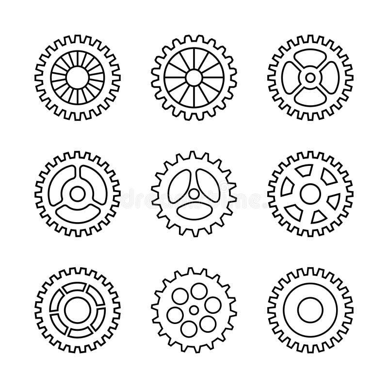 Thin line gears icon set stock illustration