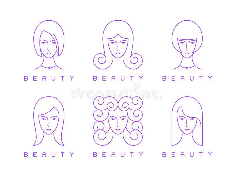 Thin line girl head, woman face, beauty logo stock illustration