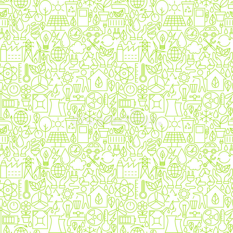 Thin Line Go Green Ecology White Seamless Pattern vector illustration
