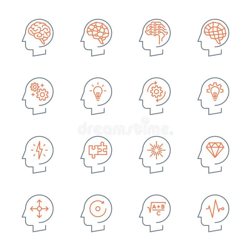 Thin line head icons set stock illustration
