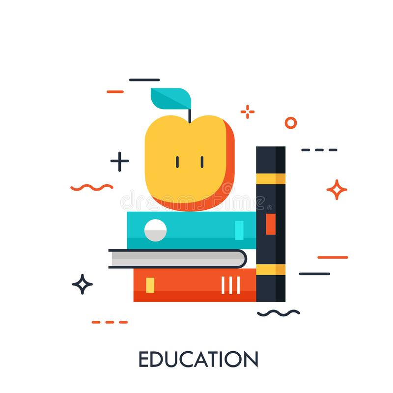 Thin line icon with flat design element of shelf with books and apple, science fiction literature, education information, learn. From textbook. Modern style vector illustration