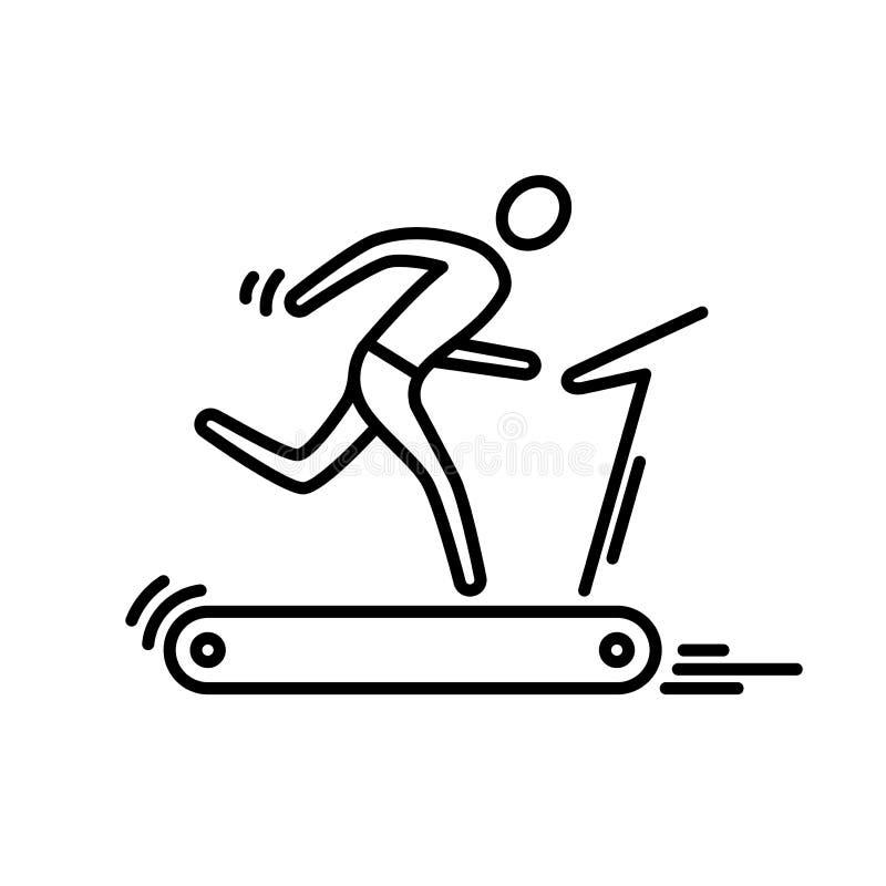 Thin line icon. Treadmill running man cardio workout. stock illustration