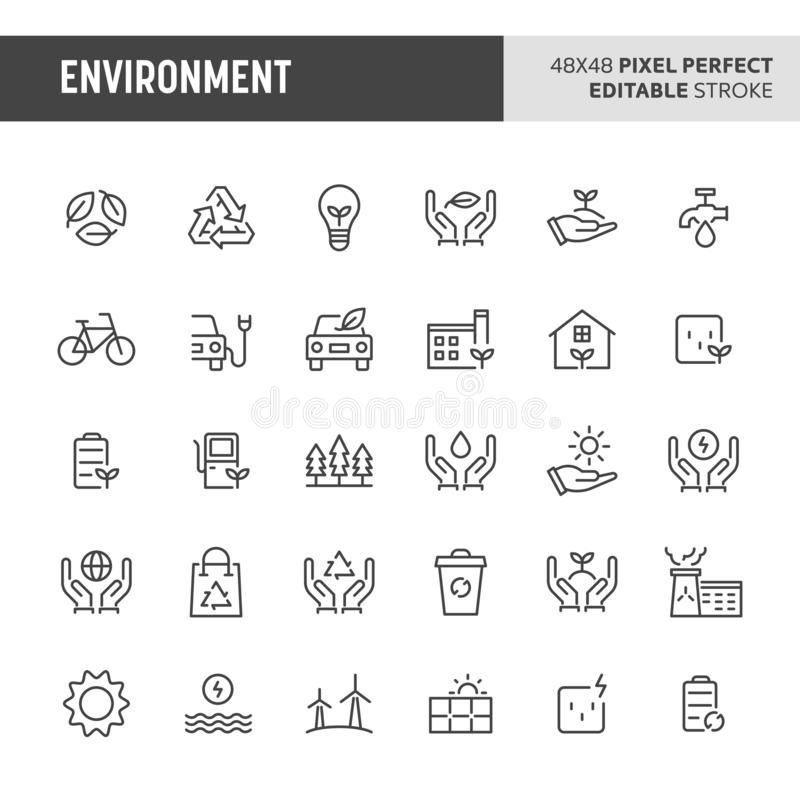 Environment Icon Set. 30 thin line icons associated with environment. Symbols such as green & eco-friendly symbol are included in this set. 48x48 pixel perfect vector illustration