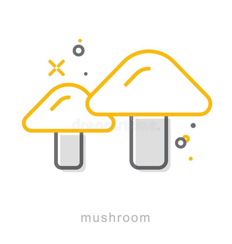 Thin line icons, Mushroom royalty free illustration