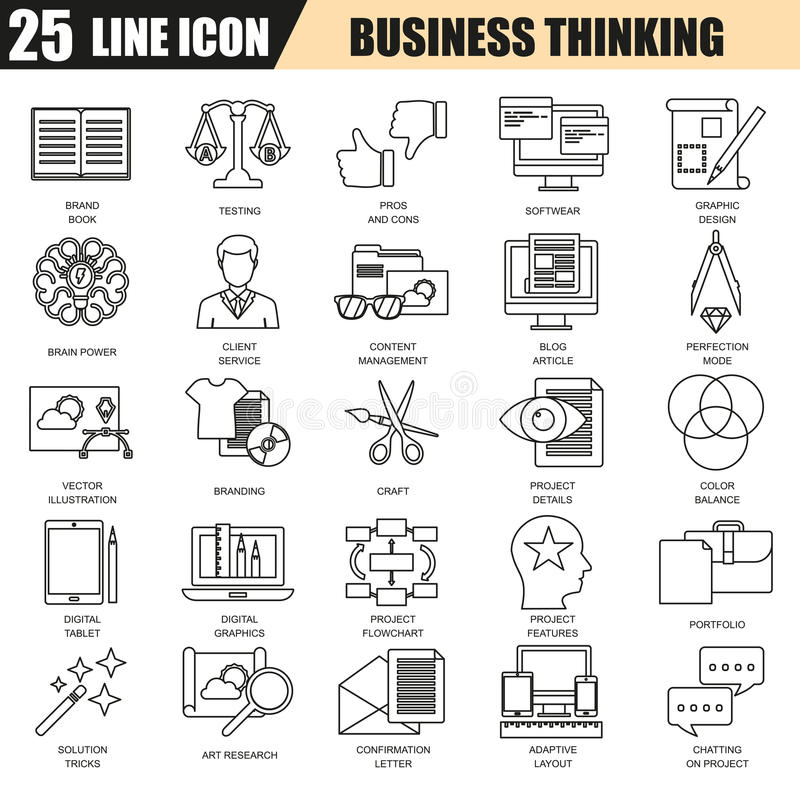 Thin line icons set of business content management, usability thinking. Modern flat linear concept pictogram, set outline symbol for graphic and web designers vector illustration