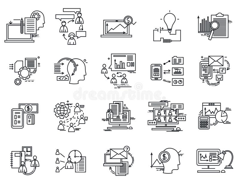 Thin Line Icons Set. Business Elements for Websites, Banners, Infographic Illustrations. Simple Linear Pictograms. Collection. Logo Concepts Pack for Trendy stock illustration