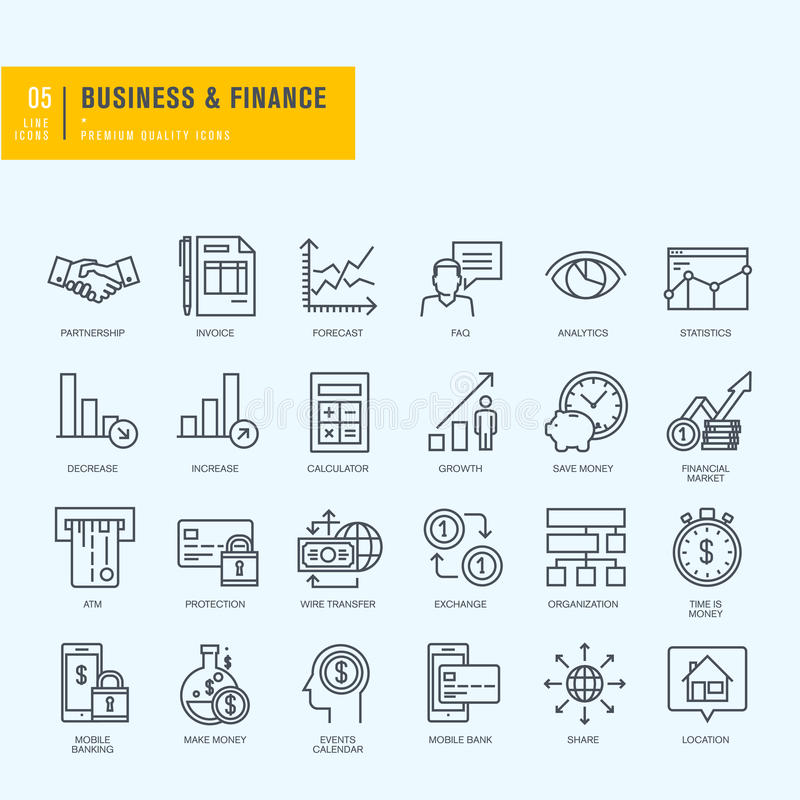 Thin line icons set. Icons for business, finance, m-banking. royalty free illustration