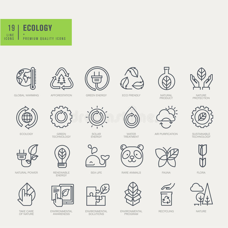 Thin line icons set. Icons for environmental. stock illustration