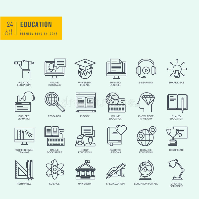 Thin line icons set icons for online education stock vector download thin line icons set icons for online education stock vector illustration of yadclub Image collections