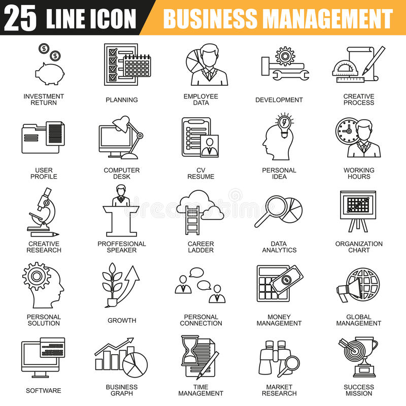 Thin line icons set of management, business leadership training and corporate career royalty free illustration