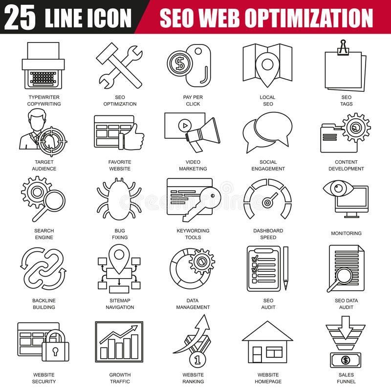 Thin line icons set of search engine optimization tools for growth traffic. Modern flat linear concept pictogram, set outline symbol for graphic and web vector illustration