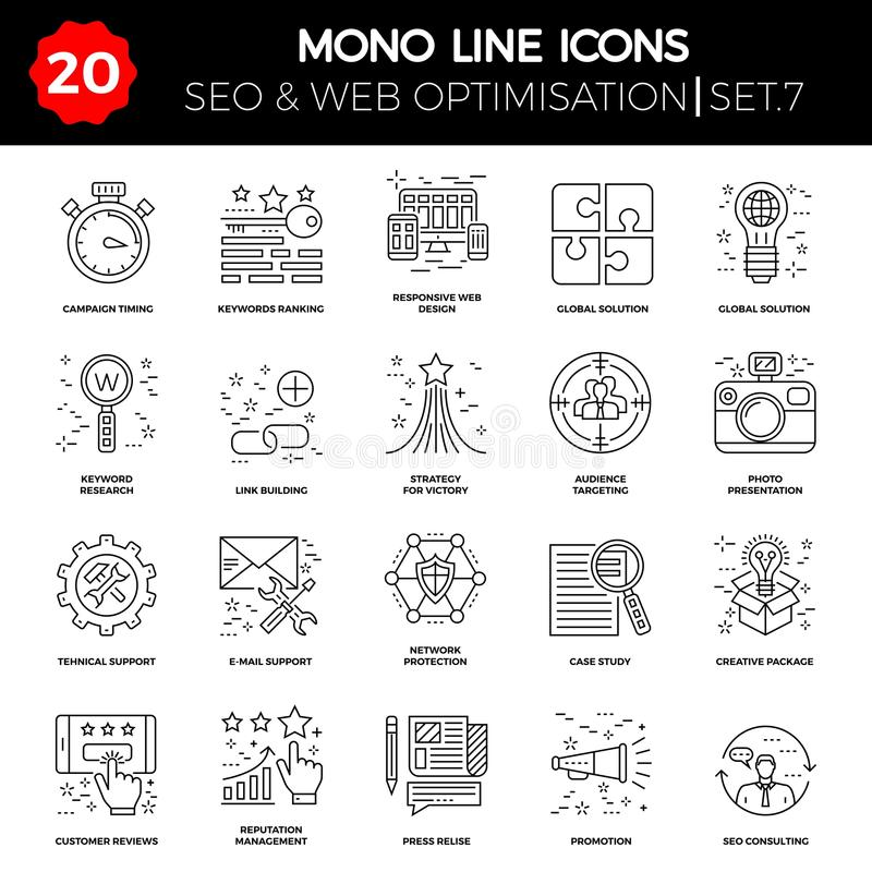 Thin Line Icons Set of Search Engine Optimization vector illustration