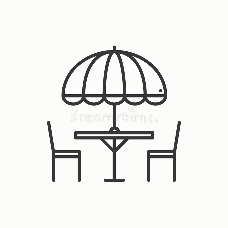 Thin line icons set. Table and chair outside. Outdoors. Silhouette street cafe, restaurant sign. Food service. Patio royalty free illustration