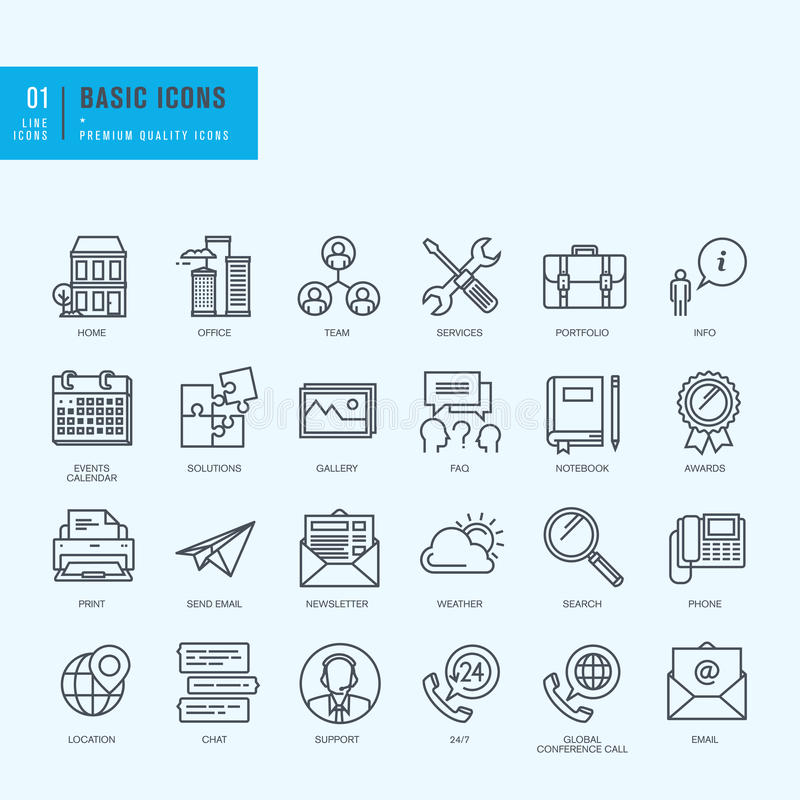 Thin line icons set. Universal icons for website and app design. vector illustration