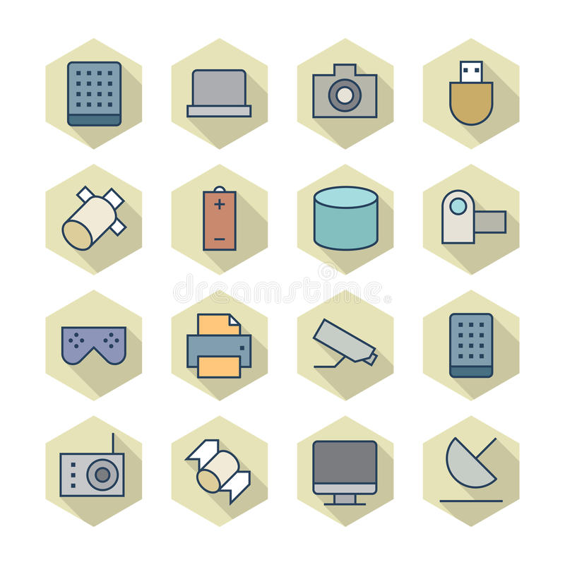 Download Thin Line Icons For Technology Stock Vector - Image: 39329172