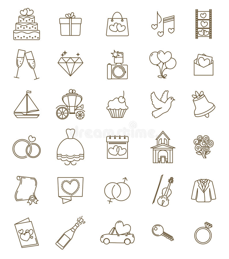 Free Thin Line Icons Wedding Set. Outline With Adjustable Stroke Stock Photo - 68908010
