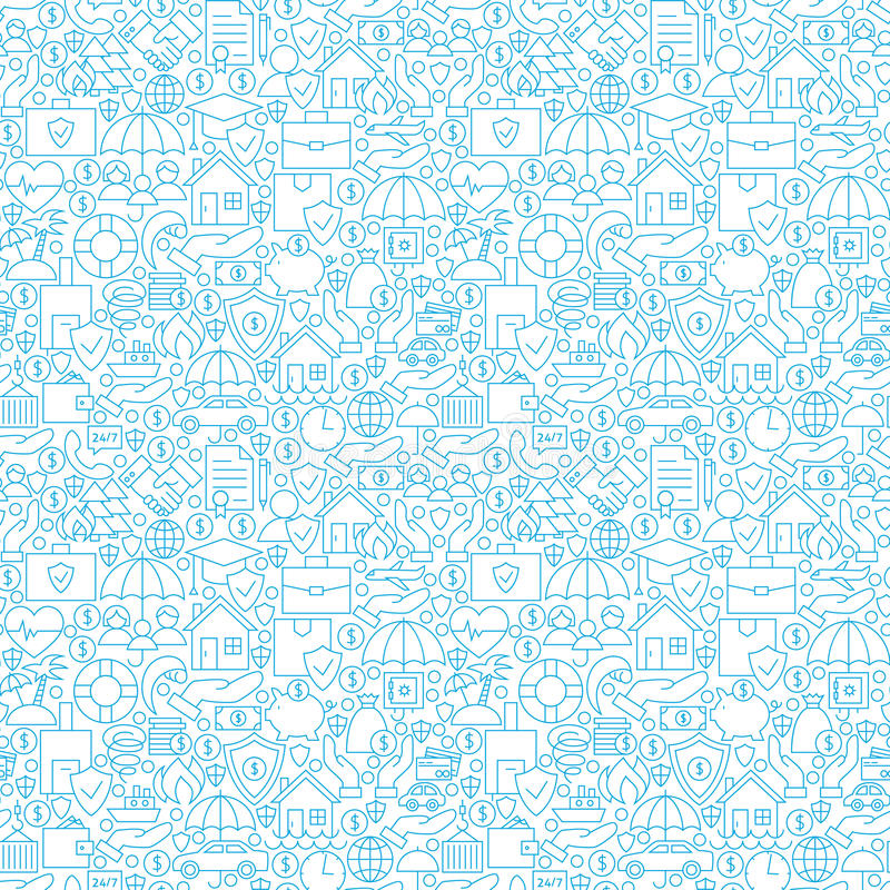 Thin Line Insurance White Seamless Pattern vector illustration