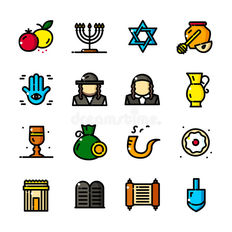 Thin Line Judaism Icons Set Vector Illustration Stock Vector
