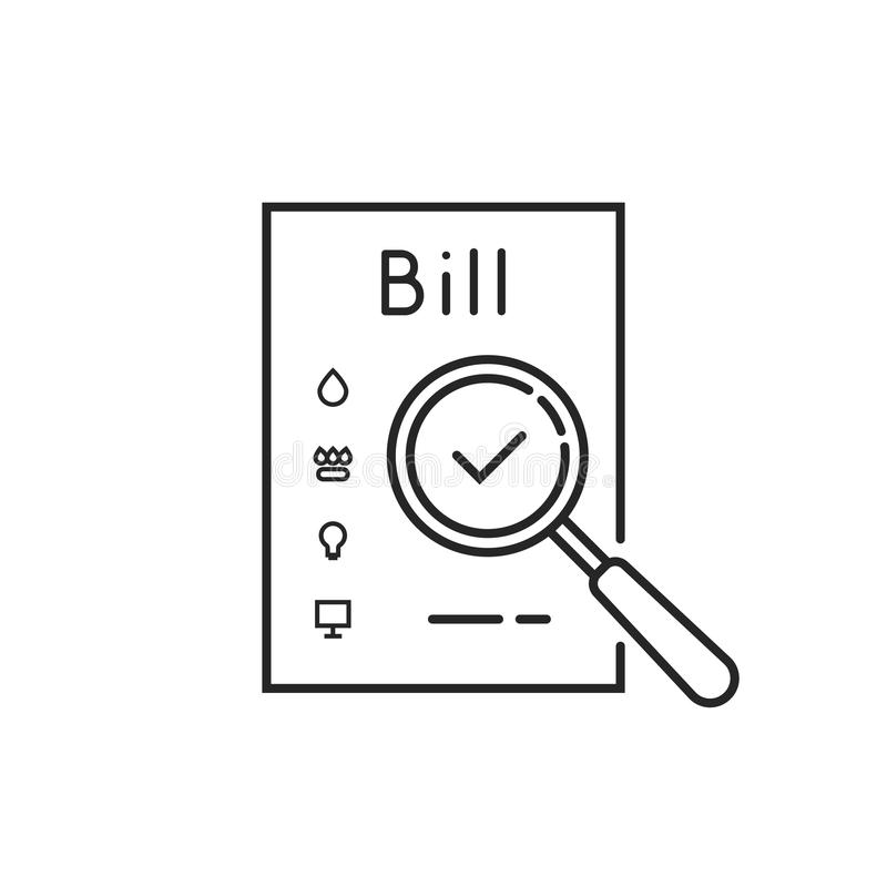 Thin line payment of utility bills icon royalty free illustration