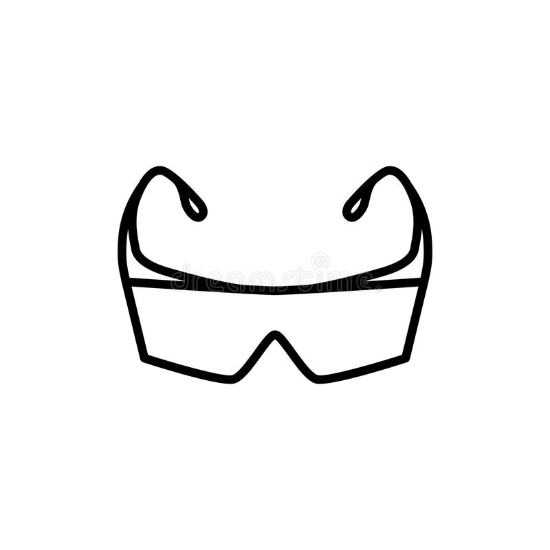 Thin line protection safety glasses icon stock illustration