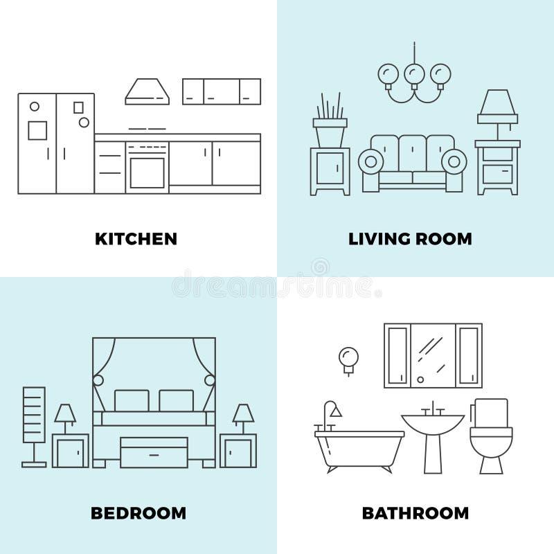Thin line rooms concepts - apartment concept design stock illustration