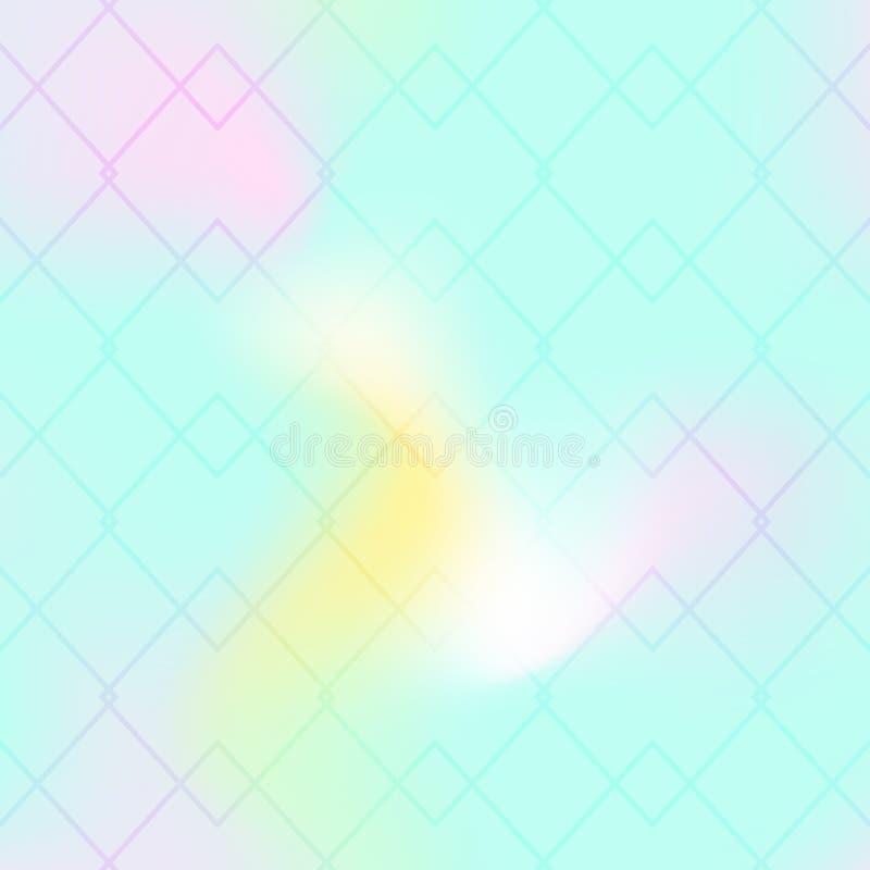 Thin line seamless pattern on mint blue background. Iridescent gradient mesh. Ar deco geometric ornament stock illustration