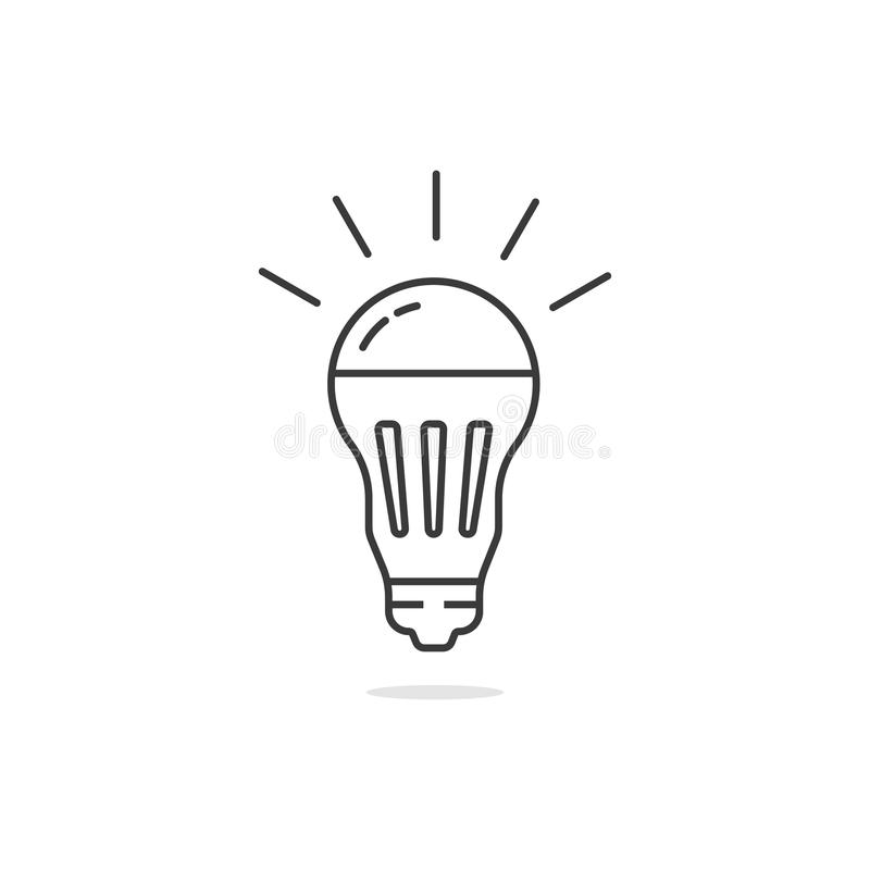 Thin line simple black led bulb royalty free illustration