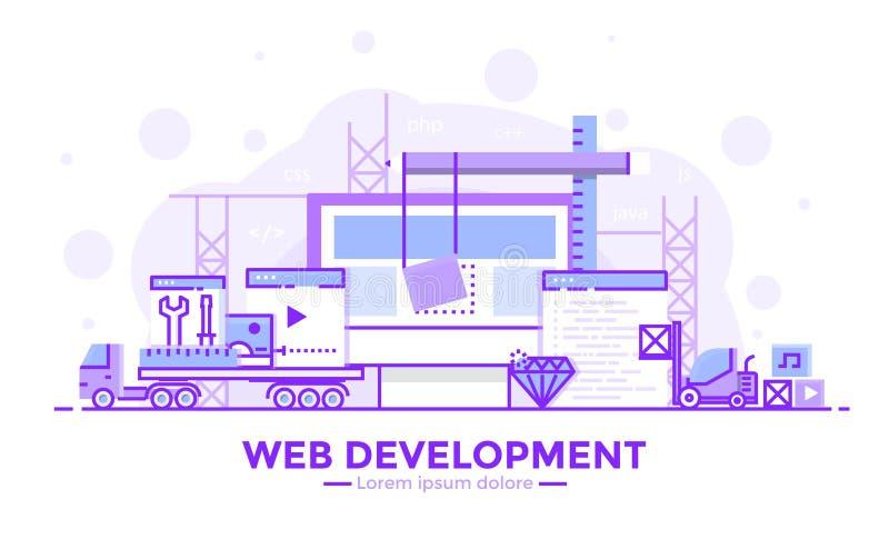 Flat Line Purple colorr Modern Concept Illustration - Web development vector illustration